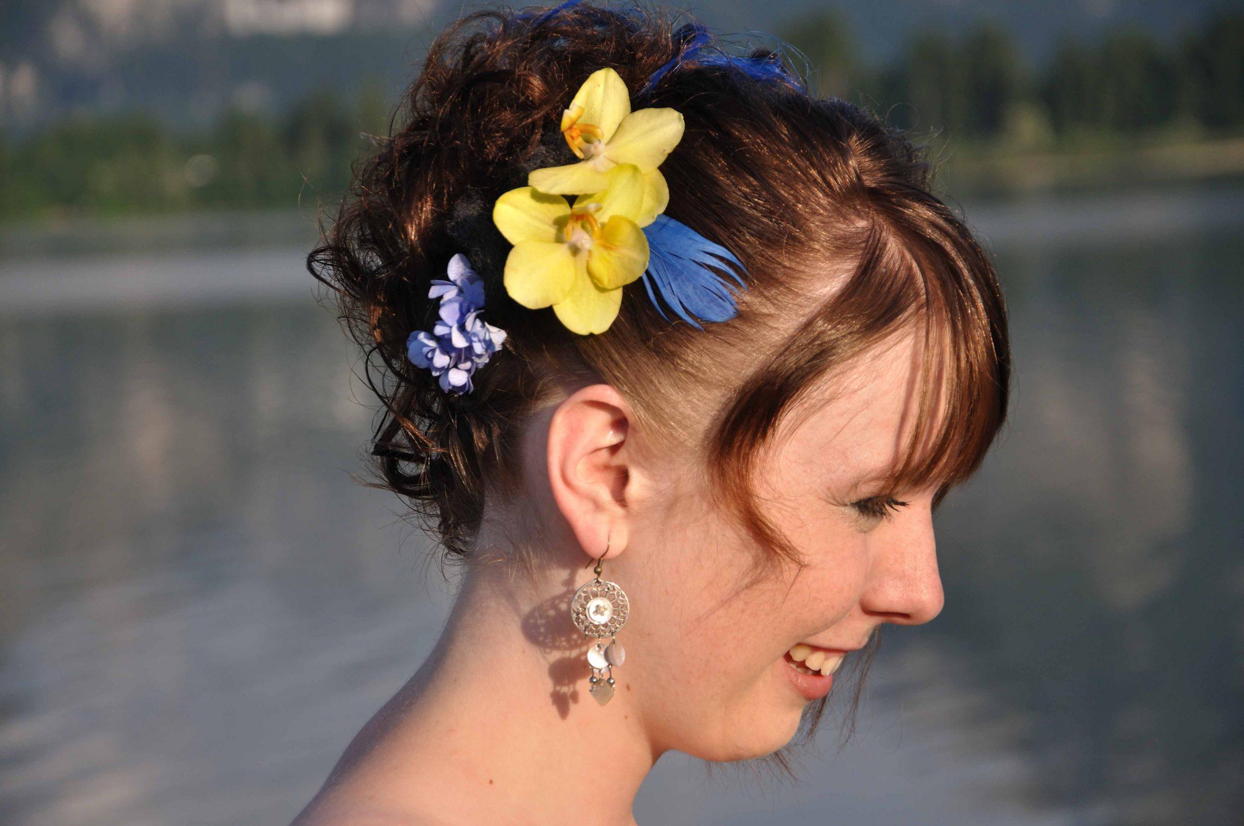 18,5 Corsage Orchidee grün blau